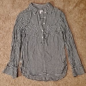 Merona womens size S black & white gingham flannel